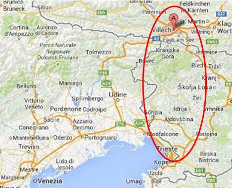Karte Alpe-Adria-Trail - Sento Wanderreisen